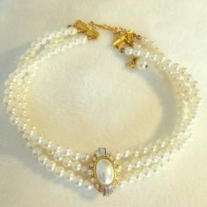 Jewelry - Adjustable pearl and crystal 3 strand choker